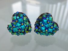 Small Sparkly Black / Blue Ab Heart Crystal Diamante Diamond Stud Earrings