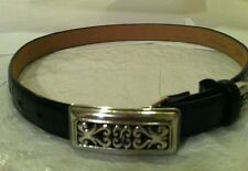 BRIGHTON Black Croc Belt Size Small WITH Silver Buckle