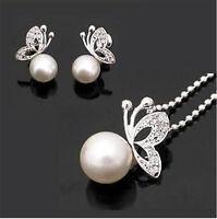 Silber und perle schmetterling halskette und ohrringe set
