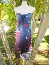 Sheer Sarong DARK GRAY W/ RED LILY Hawaii Pareo Beach Cover-up Wrap Skirt Dress