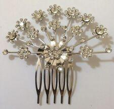 2 x DIAMANTE FLOWER SPRAY HAIR COMB/SLIDE BRIDAL PROM PART