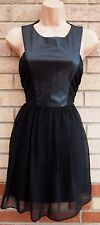 OH MY LOVE BLACK FAUX LEATHER ZIP BACK SKATER CHIFFON FLIPPY PARTY BIKER DRESS M