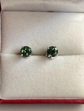 14K White Gold Green Tourmaline Stud Earrings