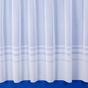 New Leanne Semi-Plain Net Curtain In White - Sold By The Metre - Multiple Sizes
