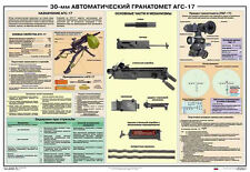AGS-17 automatic grenade launcher Russian original military poster (39x27 in)