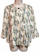 J JILL Women's Sz M Designer Fashion Tailored Jacket Top Geometric Print Silk