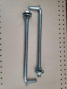 "(2pcs) 12"" Chain Link Gate J-BOLT HINGE: 5/8"" pin Threaded J-Bolt Post Hinges"