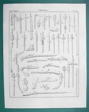 ARMS Piercing Bows & Arrows Firing Pistols Rifles - 1825 Antique Print