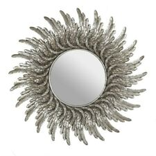 NEW LARGE ROUND SILVER EFFECT ANGEL WING MIRROR 48CM DF_18290