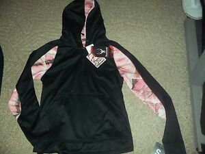 WOMENS HUNTWORTH STRETCH SZ S BLACK PINK OAK TREE CAMO HOODIE HOODY NEW NWT