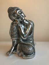 """Stunning Silver 10""""Sleeping Leaning Buddha With Glitter Ornament Home Decor Gift"""