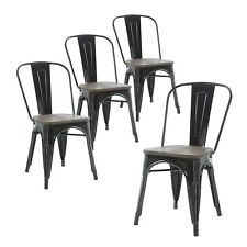 Set of Four Black Wooden Seat  Metal Indoor/Outdoor Stackable Chairs with Back