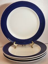"4 pc Windsor & Browne EMBOSSED LATTICE White Cobalt 10"" Dinner Plates, Italy"