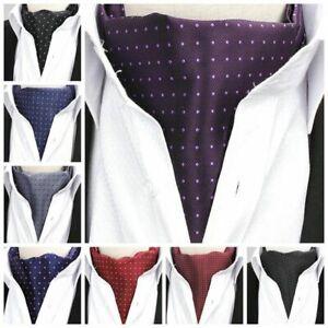Men Ascot Neck Ties Vintage Jacquard Silk Paisley Polka Scarves Cravat Gentleman
