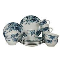 ELAMA TRADITIONAL BLUE ROSE 16 PIECE STONEWARE DISH DINNERWARE SET SERVICE for 4