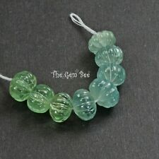 """61.3CT Green Blue Aquamarine Carved Melon Fluted Beads Carving 2.6"""" Strand"""