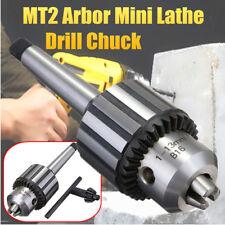 "1-13mm 1/2"" Mini Lathe Bench Drill Chuck MT2 Morse Taper Shank Tool Holder + Key"