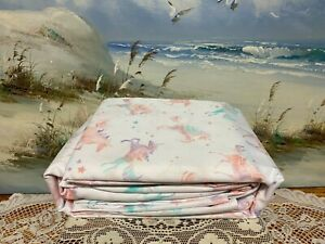 Rainbow Unicorns & Stars Microfiber Twin/Twin XL Kids Bed Sheet Set Pink Bedding