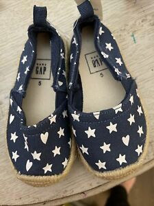 Baby Gap Girls Blue hearts stars Espadrille Slip On Shoes Size 5 NEW