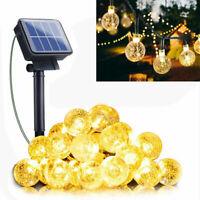 20-100 LED Solar String Light Crystal Ball Outdoor Garden Party Wedding Decor