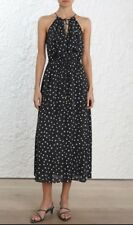 Zimmermann Cascade Midi Dress | Charcoal Confetti | Summer Halter Splits Size 3