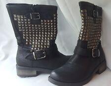 Womens biker boots, studded, mid calf Size 6.5 Z2