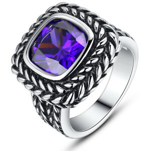Women's Stainless Steel Vintage Square Cubic Zirconia Statement Cocktail Ring