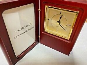 Finished wood frame clock with photo slot