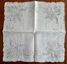 Vintage 1920-1940s Wedding Hanky Never Used New Old Stock White W/Gray Embroider