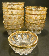 Vintage Set of (12) Footed, Sawtooth, Scalloped Edge Glass Bowls w/ Gold Accents