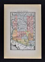 1884 McNally Map Arizona Phoenix Tuscon Tombstone Prescott Grand Canyon Yuma AZ