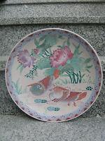 Assiette/Décoration Porcelaine Asiatique Couple OISEAUX 26 cm