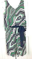 Maggy London Green Black Beige Sleeveless Sheath Tunic Dress Size 6