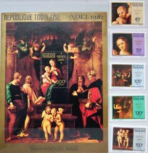 TOGO 1982 1623-27 Block 192 1144-1149 Christmas Weihnachten Religion Paintings**