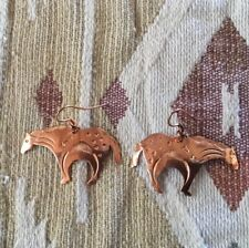 EARRINGS HORSES COPPER VINTAGE UNWORN