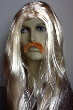 Men's Long Blonde Straight Fancy Dress Wig &  Droop Moustache. Self Adhesive .