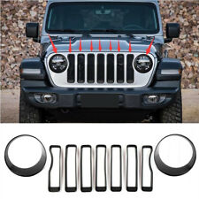 Fit 2018 Jeep Wrangler JL Front Grill Insert+Headlight Bezel Trim Cover Black
