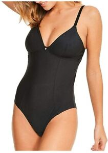 Size 12 Figleaves Smoothing Body Medium Support Non Wired Soft Cup Black 183202
