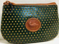 *Vintage*DOONEY & BOURKE*Cabrio Leather* Coin Purse/Green & Yellow*18312N S165