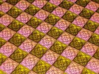 VTG CHRISTMAS WRAPPING PAPER GIFT WRAP NOS PINK GOLD STAINED GLASS WINDOWS