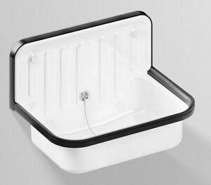 Alape Klassiker SINGLE BOWL WALL BASIN 510x360x365mm Overflow White w/Black Trim