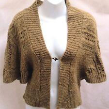Calvin Klein Jeans S Shrug Bolero Mustard Brown Wool Blend Cardigan Sweater