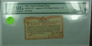 8/2/1775 (Water Works) 8S New York Colonial Note Fr#NY-175 PMG About UNC 50