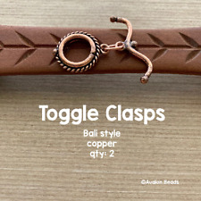 Copper Toggle Clasp - Toggle Clasp - Bali Style - Two Sets