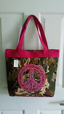 Womens hot pink camo camouflage print multi color peace sign bling handbag tote
