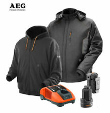 AEG 12v Heated Hoodie & Jacket Twin Pack & Battery & Charger NEW xxxl.