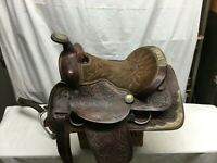 Vintage Leather Horse Saddle Tooling Work Ornate Leather No  Stirrups