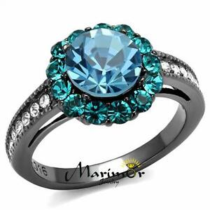 Light Black Stainless Steel 3.22 Ct Multi Color Crystal Halo Engagement Ring