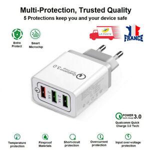 Adaptateur Chargeur Prise USB Secteur 3 Ports Qualcomm Quick CHARGE QC 3.0 5V
