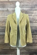 Chaps Womens 2 Button Corduroy Blazer Suit Jacket 12R Tan Beige Casual EUC 294